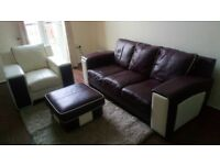 DFS Leather Sofa - 3 Seater, Single & Footstool - Like New