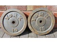 SLIGHTLY RUSTY 10KG WEIGHT PLATES