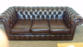 Brown 3 seater chesterfield sofa