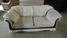 White 2 seater sofa + armchair free delivery
