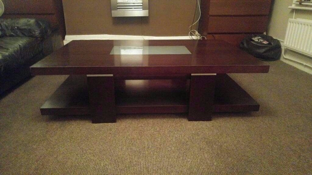 HEALS OF LONDON MODERN DESIGNER SOLID OAK AND GLASS TWO TIER LARGE COFFEE TABLE V.G.CONDITION TABLE