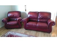 BURGANDY REAL LEATHER 2+1 SEATER SOFAS - MUST GO ASAP - FREE DELIVERY SOME AREAS - £195