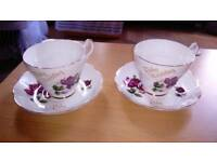 Ruby wedding 1960 argyle cups & saucers