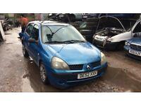 2003 Renault Clio Expression 16V QS5 5dr Hatchback 1.2L Petrol Blue BREAKING FOR SPARES