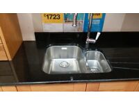 Brand New Kitchen Sink FRANKE Stainless Steel Double Reversible Bowl Undermount,BARGAIN £125!RRP196!