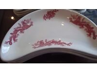 Antique Dragon Design Bone Bowls/Canape Dishes