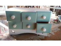 Six drawer spice chest - shabby chic chalk white/green