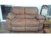 x2 leather two seater reclining couches in chocolate brown
