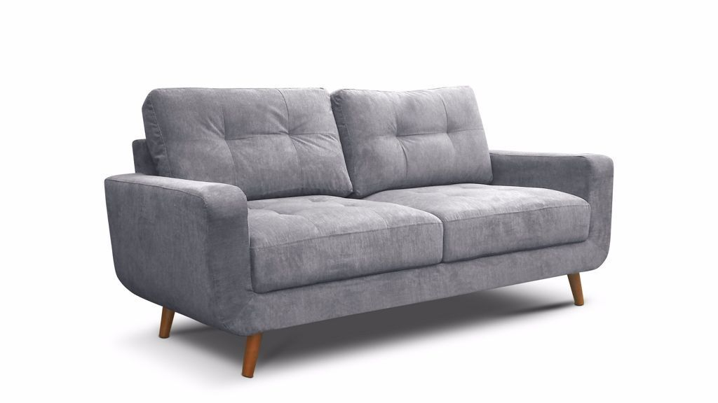 Brand New Modern Aurora 3 2 Seater Fabric Sofa With Wooden Legs In Soft Grey