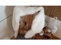 Womens white faux fur shawl