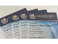 England v New Zealand Champions Trophy Tickets Cardiff x 4