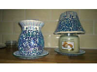 Woodwick Oceanic candle lamp + oil burner + Yankee Candle Soft Blanket