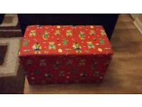 Large fabric covered toy box with removable lid