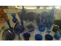 Centre pieces - blue glassware