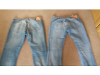 Men's LEVI 501s As New 40w 32l and 34l