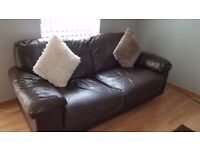 Chocolate Brown Leather Sofa 3 seater