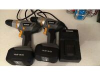 2 Titan 14volt Battery Drills Drivers with cases 1 charger