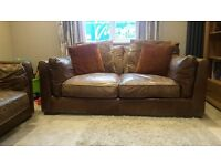 furniture village tan brown distressed leather and fabric 2 deep seat sofa in good condition