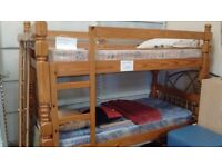 nice 3ft pine bunk bed and two 3ft mattress