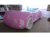 Pink Car Bed, Full size Single Bed, Working Headlights