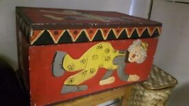 Solid Pine Hand Carved & Painted Trunk or Storage Chest