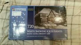 Christmas lights 720 white snowing icicle lights