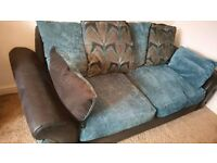 LUSH COMFY TEAL & BLACK CHENILLE FABRIC SOFA FOR SALE.