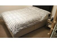 Double divan bed base with faux leather headboard - perfect conditions
