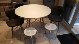 Round table 2 chairs 2 stools