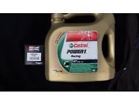 Triumph Bonneville 2001-2016 Castrol Power1 Racing 10w40 fully synthetic oil and filter, new