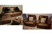 Sofa Italia real leather 2 seater sofa and 2 matching chairs and pouffe good condition