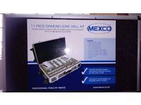 Mexco 11 Piece Dry Diamond Core Drill Bit Set Boiler Flue Soil Pipe WITH CASE