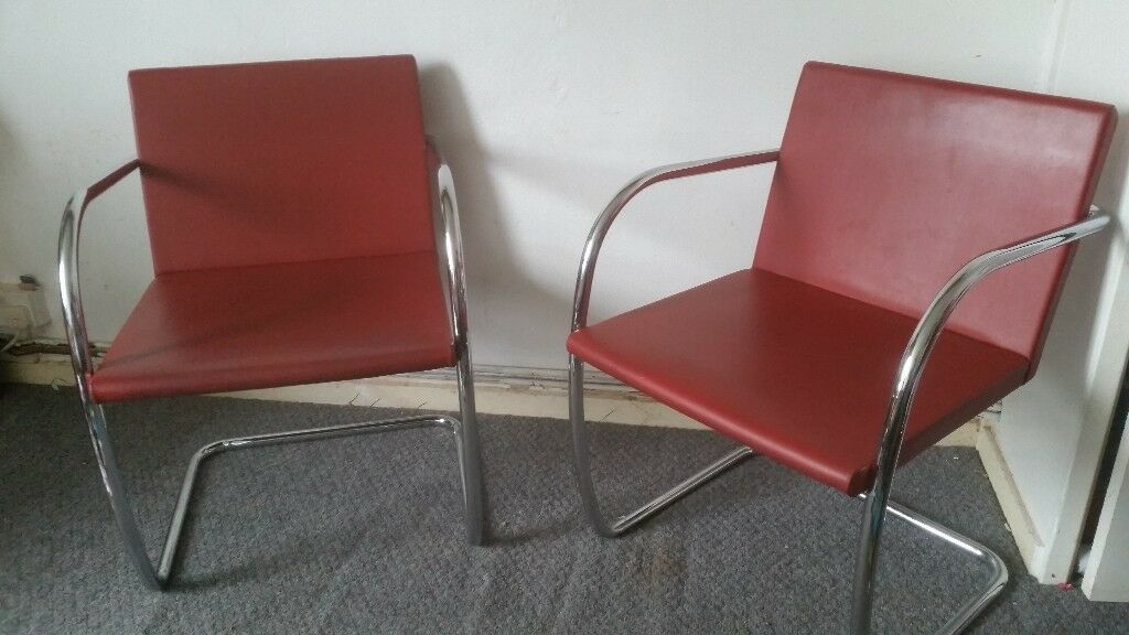 Mies Van Der Rohe Brno Chairs By Knoll Studios In Leather In