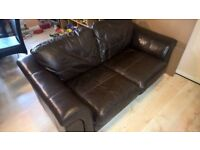 BROWN LEATHER SOFA PLUS 2 ARMCHAIRS - MUST GO ASAP - CHEAP DELIVERY - £195