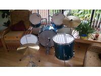 Drum Kit: Good Condition but Large Drum Damaged