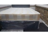 NEW DOUBLE OR SMALL DOUBLE DIVAN BED WITH LINKEN MATTRESS