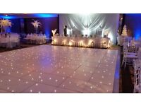 Bargain! 20FT BY 20FT WHITE LED Dance floor plus extra panels with flight cases. new used only once