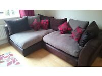 FOR SALE: DFS Madison Corner Sofa Chocolate & Red
