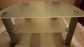 frosted glass and silver TV stand