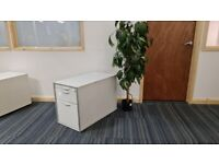White-silver contrast deep office pedestal/under desk drawers/storage unit