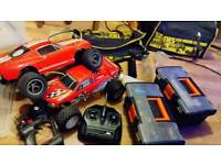 Remote control cars, tools, spares, bags and boxes