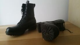 Steel toed heeled boots (size 4)