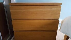 Ikea Malm bedside cabinets and 3 chest of drawers