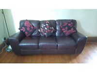 Dark brown Leather sofa and free two seater