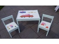 Brand New, unique, hand painted Peppa Pig theme Table and 2 Chairs