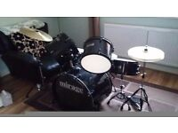 Drum kit. 5 piece mirage drum kit black.
