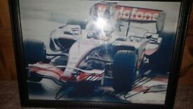Framed Motor Racing Picture.
