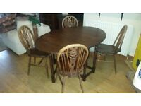 Dining table and four chairs folding, lovely Vintage antique style