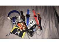 Mixed bundle for young boy.. watches, wallets, headphones, Bluetooth speaker