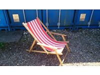 WOODEN FRAMED DECKCHAIR WITH ARMS